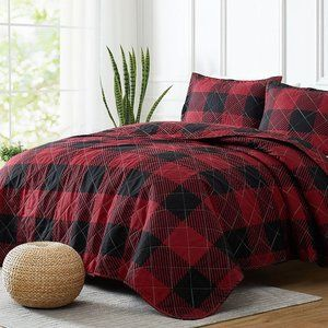 New Red & Black Queen 3 Piece Westport Woodland Check Reversible Quilt Set